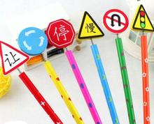 6pcs / lot, Novelty Traffic Signs Pencils , Road Sign Wood Writing Pencil for School Students
