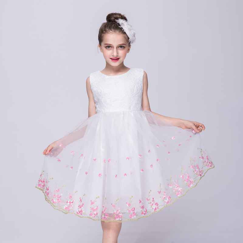 2017 New Girls party clothing for children Summer Sleeveless lace princess wedding dress girls clothes party prom dresses<br><br>Aliexpress