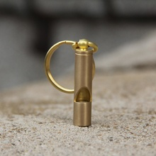 1 pc Hot Outdoor Survival Tool Vintage Brass Whistle Copper EDC Tool Key Ring Pendant sporting goods