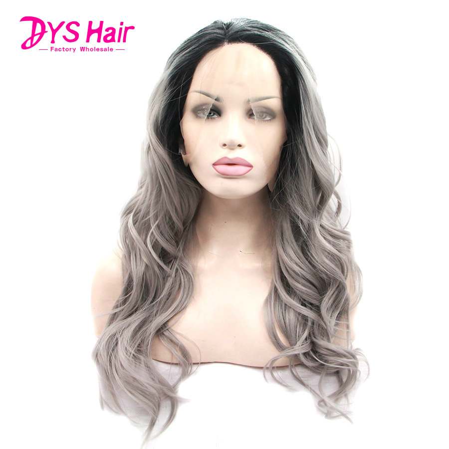 Hot Ombre Grey Wigs Lace Front Wig Synthetic For African American Women Long Wavy Rihanna Lace Wigs Sintetica Synthetic Wig     <br><br>Aliexpress