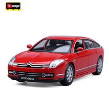 New Bburago 1/18 Scale Citroen C6 Alloy Diecast Car Model Toys Car For Kids Gifts Toy Cars Collection Free Shipping(China)