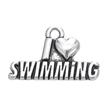 "3 style Newest Alloy ""I Love swimming"" series Charms Dangle Hanging Charm DIY Jewelry Accessories Charms Jewelry 50pcs/lot(China)"