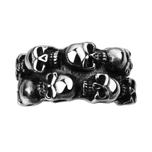 European Punk Style Biker Skull Head Finger Ring For Man Stainless Steel Cool Boys Vintage Fashion Statement Charm Jewelry Bague