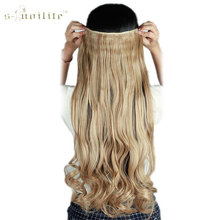 SNOILITE Half Full Head Synthetic Curly Long Clip in Hair Extensions One Piece Hairpiece Black Brown Blonde