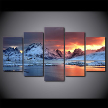 5 Panels Fashion iceland jkulsrln aurora Paintings Wall Art 5 Piece Prints Pictures Canvas Painting Home Decor Artwork(China)