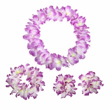 wedding decoration Hawaiian Luau flower Leis Hula dance necklaces bracelets headband - flowers decoration wedding 4pcs/lot FX474(China)