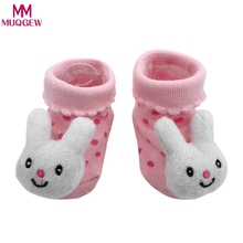 2018 Lovely Baby Socks Anti-Slip Cotton Newborn Sock Shoes Cartoon Animal Doll Slippers Boots Unisex Boy Girl Socks Rubber Sole(China)