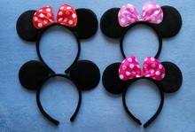 Adult Minnie Mickey Mouse Ears Headband Birthday Party Decoration Kid Minnie Mickey Mouse Party Supplies Bow Hair Accessories