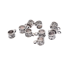 10pcs antique tibetan silver round heart pattern bail alloy charms pendant fit bracelet DIY jewelry findings 5 mm hole