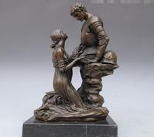 Greek Mythology Bronze Marble maiden impetrate warrior Statue(China)