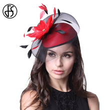 FS Women Elegant Feather Red Flower Cocktail Hats Fascinators Black Hat Ladies Church Headwear Vintage Pillbox Hat With Mesh(China)