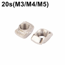 100pcs M3 M4 M5 Nickel Plated T nut Hammer Head Fasten Nut for Aluminum Extrusion Profile 2020 series Slot Groove 6mm