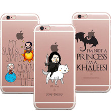 Transparence Phone Cases Game Of Throne Not Princess I'm Khaleesi jon snow Cover For iphone X 8 8Plus 7 7Plus 6 6S Plus 5 5s SE(China)