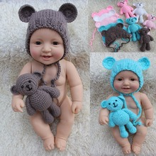 0-6M Newborn Baby Bear Hat Photography Props Crochet Beanie Photography Accessories 2017 Fashion