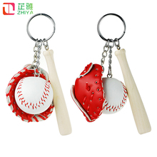 Trendy Sprots Gift Keychains leather softball baseball keychain Creative Bat fans jewelry gift