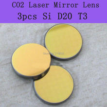 Freeshipping High Quality Si coated gold Mirror 3pcs/lot Co2 laser mirror diameter 20mm , thickness 3mm