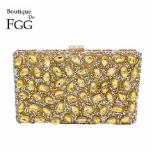 Golden Crystal Women Evening Bag Clutches Diamond Bridal Wedding Box Clutch Ladies Metal Hardcase Party Shoulder Handbags Purses(China)