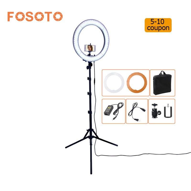 Fosoto RL-18 55 Вт 5500 К 240 LED Фотографическое освещение затемнения Камера фото/Studio/телефон фотографии кольцо свет лампы и штатив Стенд(China)