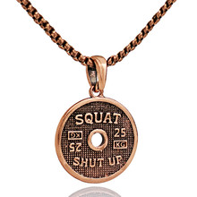 Stainless Steel Letters Motivation Weight Plate Fitness Necklace For Men Women Gym Bodybuilding Pendant Necklace Trainer Gift