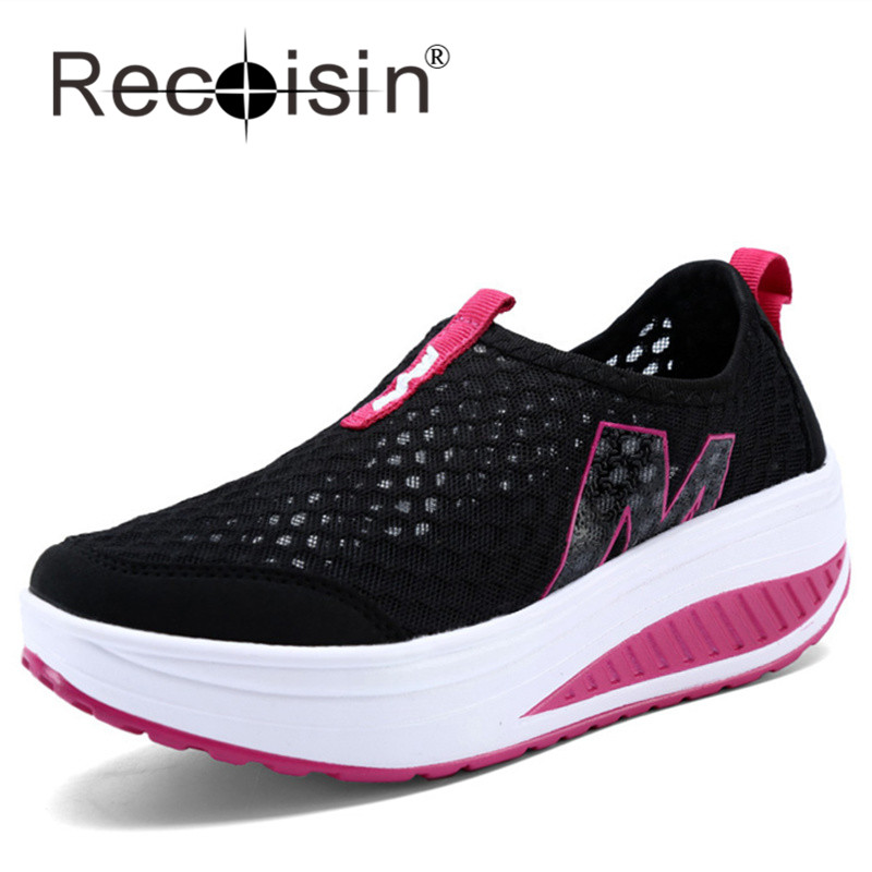 RECOISIN Women Height Increasing Shoes Summer Mesh Swing Shoes Lady Rocking Shoes Platform Wedges Black Shoes Zapatos Mujer 3308<br><br>Aliexpress
