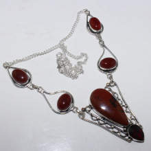 Mahogany Obsidian & Carnelian  Necklace  Silver Overlay over Copper , 51.5 cm, N0942