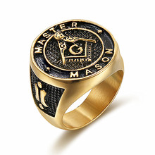 UJBOX Dropshipping Master Mason Rings Stainless Steel Masonic Rings Men Alliance Anel Alibaba Retail & Wholesale Store R753UX