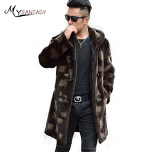 M.Y.FANSTY 2017 Winter Import Mink Man Real Fur Mink Coat Causal With Hat Jacket Horn Button Print Flower Long Man Mink Coats(China)