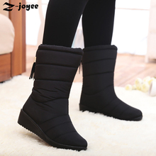 Waterproof Snow Boots Women 2016 Winter Non-slip Lady Boots New Brand Fur Plush Leisure Mid-calf Low-heel Snow Boots SimpleBlack