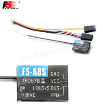 1pcs Original Flysky FS-A8S 2.4G 8CH Mini Receiver with PPM i-BUS SBUS Output For Rc Airplane Compatible with FS-i4 FS-i6 FS-i6S