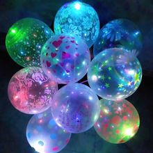 Colorful Flash Illuminated LED Balloon Glow In The Dark Sky Lanterns Happy Birthday Decoration Party Baloons(China)