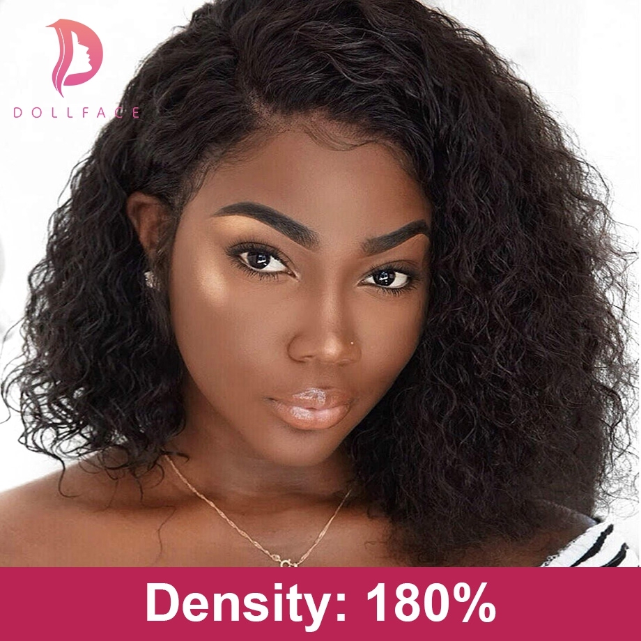 Short Curly Lace Front Human Hair Wigs For Black Women Brazilian Hair Bob Wig With Baby Hair Pre Plucked Free Shipping Dollface(China)