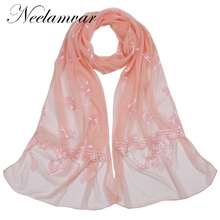 Neelamvar new arrival pinkycolor soft silk scarf 2017 autumn winter cute girls long shawls double yarn scarfs wraps from india(China)