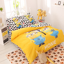 XINLANISNOW Home Textile Cartoon Children Kids Bedding Set Red Minions Hello Kitty Mickey Mouse Bed Linen Duvet Cover Bed Sheet