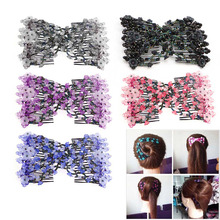 1pcs Magic Beads Elasticity Double Hair Comb Clip Stretchy Hair Combs Clips