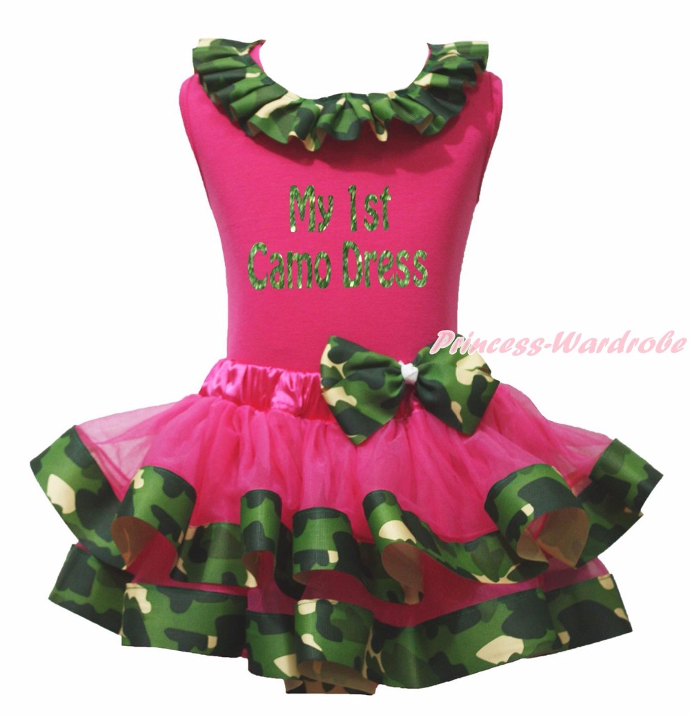 Bling My 1st Camo Dress Hot Pink Top Shirt Camouflage Ribbon Trim Girl Pettiskirt Outfit Set NB-8Year<br>