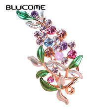 Blucome Flower Brooches For Women Esmalte Enamel Broches Hijab Pins Austrian Crystal Decorative Garment Dress Accessories Pin(China)
