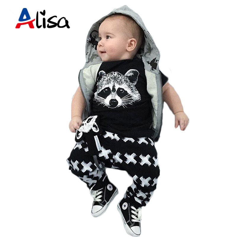Newborn 2016 toddler baby boy clothing sets autumn short sleeve fox t-shirts + pants 2pcs black casual baby boy clothes sets<br><br>Aliexpress
