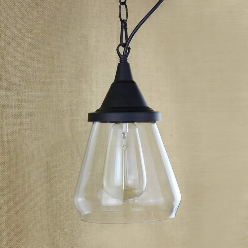 Recycled retro Hanging clear glass cup Pendant Lamp with Edison Light bulb|Kitchen Lights and Cabinet Lights<br>
