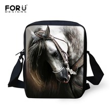 FORUDESIGNS Crazy 3D Horse Men Messenger Bags Children Kids Small Cross-body Bag For Boys Women Designer Mini Shoulder Flap Bags(China)