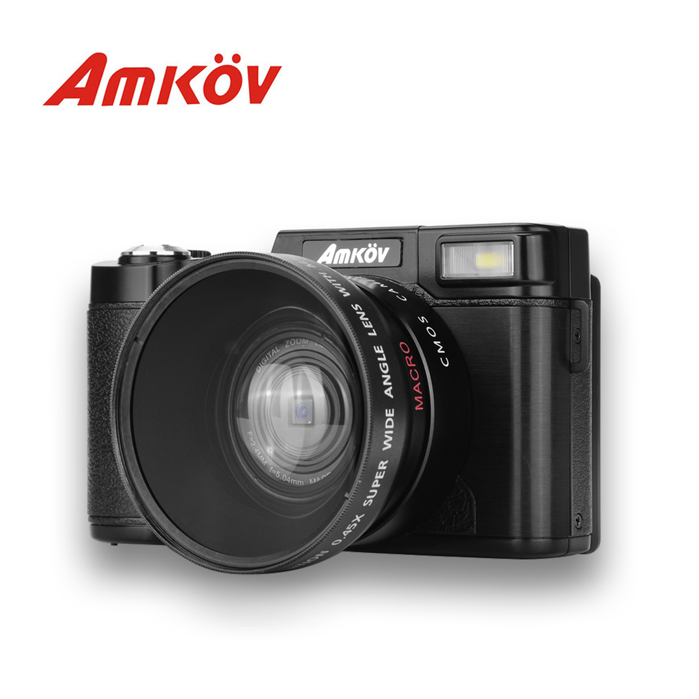Original AMKOV CDR2 CD-R2 Digital Camera Video Camcorder With 3 Inch TFT Screen With UV Filter 0.45X Super Wide Angle Lens(China)