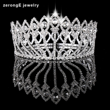 Large Vintage Style Pageant Beauty Contest peacock Crown Full Circle Round Tall Tiara Crystal girl's tiara and crown