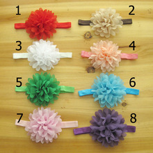 2014 infant headbands baby flowers children's chiffon flower  fabric flowers for headbands girls hair accessories