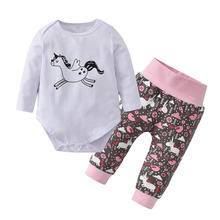 Cartoon Cute Horse Newborn Baby Girls Clothes Set Autumn Casual Long Sleeve T-shirt Tops Casual Pants Toddler Clothing 2Pcs Suit(China)