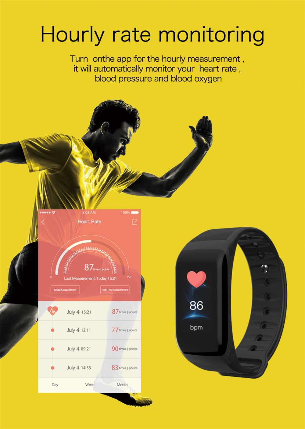 EXRIZU F1S Smart Wristband Blood Pressure Heart Rate Monitor Smart Bracelet Women Men Sport Band Fitness Tracker for Android iOS 12