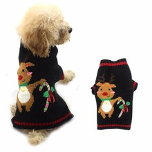 1 piece Polyester Christmas Sweater for Dogs Xmas Pet Puppy Dog Jumper W/ Bell  Reindeer clothes For Small Medium Large Dogs Cat