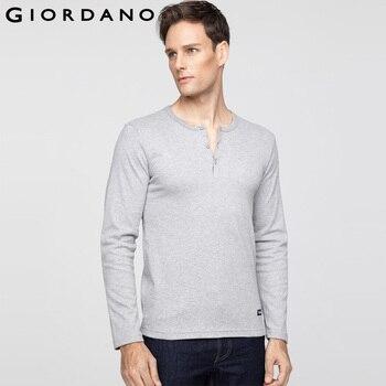Giordano homens t-shirt da marca clothing tee crewneck de mangas compridas t-shirt de algodão casual t-shirt camiseta masculina henley pescoço tshirt