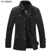 High Quality Autumn Winter Woolen Coat Men Slim Fit Jacket Mens Fashion Outerwear Warm Male Casual Woolen Jackets Overcoat Coats(China)