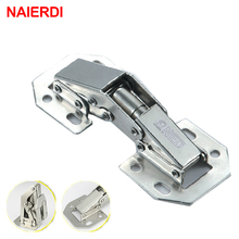 2PCS NAIERDI-A100 4 Inch 90 Degree No-Drilling Hole Cabinet Hinge Bridge Spring Frog Cupboard Door Hinges Furniture Hardware