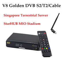 Openbox V8 Golden DVB-S2+T2/Cable+USB WiFi with 1 Year Singapre Cable Server StarHUB Youporn Satellite Receiver TV Box