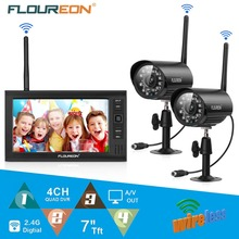 FLOUREON 7 inch TFT LCD CCTV DVR Monitor Digital Weatherproof Wireless 2pcs IP Camera Surveillance System Security camera set